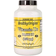 Healthy Origins 10000 IU Vitamin D3 Liquid Gels - Pack of 360