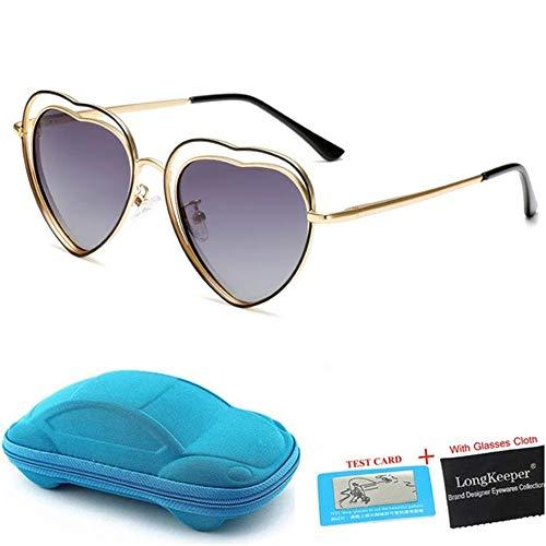 Wang-RX Polarisierte sonnenbrille kinder herzförmige sonnenbrille mit fall kinder doppel metallrahmen brillen uv400 geschenk 6 farben