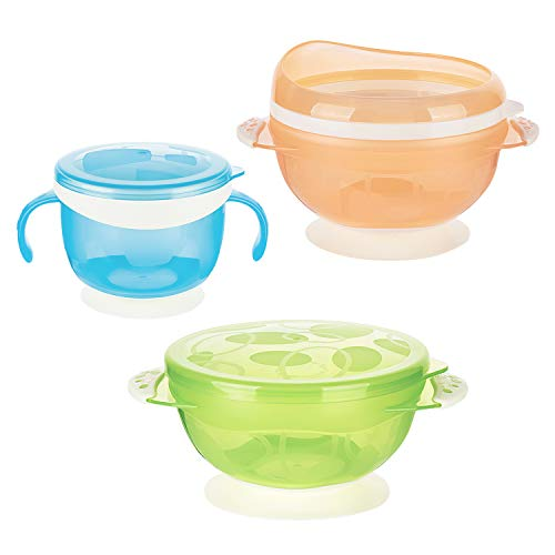 Zooawa Baby Bowls with Suction Base, 3-PACK Nonslip Spill Proof Feeding Training Bowl Dinnerware with Seal Easy Lid for Babies, BPA-Free, Blue + Orange + Green - 3 Base-compact