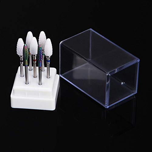 Luminiu 7 Loch Leere Nail Art Schleifkopf Werkzeug Displaybox, Nagel Polierkopf transparente Displaybox Aufbewahrungsbox für die Datei Eingabeaufforderung des Schleifers -
