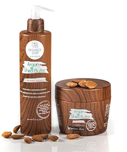 organics-shop set shampooing masque conditioner à l'huile d'argan et beurre de karité formule naturelle cheveux secs abimés colorés sans sulfates vegan idéal après lissage brésilien