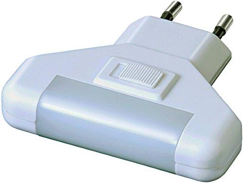 Electraline 58313 - Lámpara nocturna de presencia con sensor de movimiento con interruptor, color blanco...