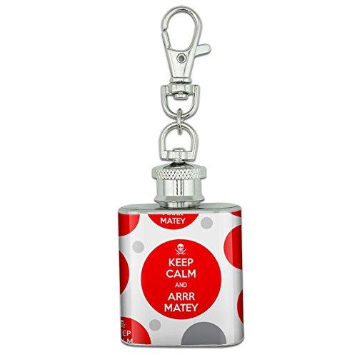 Unzen Edelstahl Mini Fläschchen Schlüsselanhänger–Keep Calm und A Arrr Matey Pirate Skull - Keep Calm and