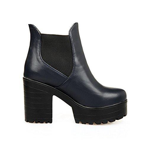 AllhqFashion Damen Hoher Absatz Rund Zehe Weiches Material Stiefel mit Schnalle, Rot, 32