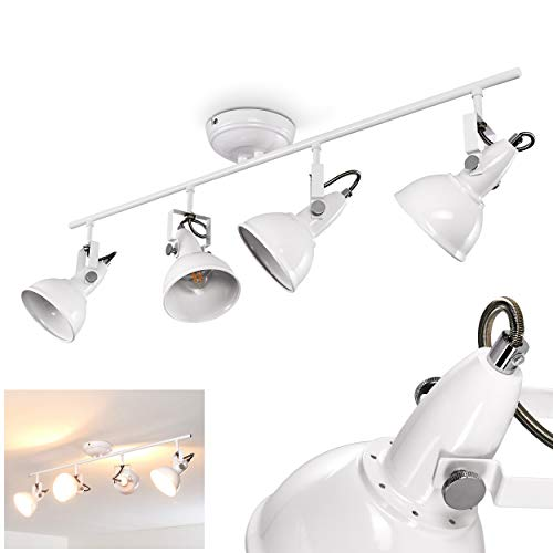 Antik Weiß 4 Licht (Deckenlampe 4-flammig für größere Räume - Deckenstrahler Tina aus Metall in Weiß - Deckenleuchte mit verstellbaren Spots - Zimmerlampe für Wohnzimmer - mit dreh- und schwenkbaren Lampenschirmen)