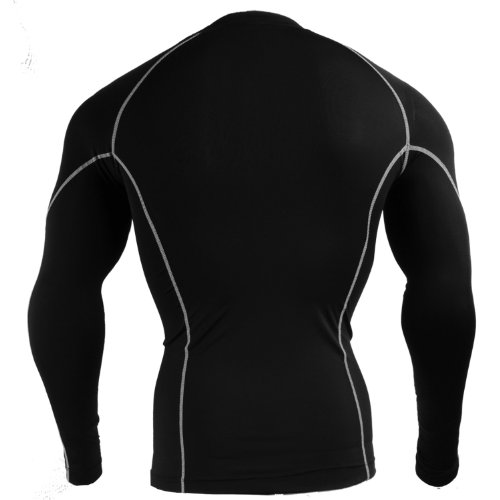 emFraa Homme Femme Sport Compression black Base layer Shirt Long sleeve S~XL noir