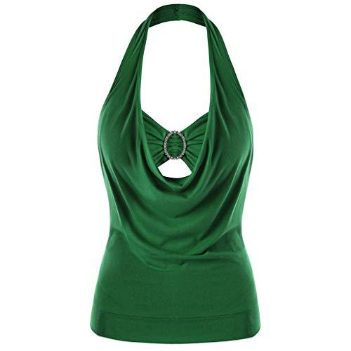 Sleeveless Knit Tank Top Shirt (MRULIC 2019 Neckholder Weste Tops Damen Plus Größe Solide Sleeveless Verschönert Halter Tank Top(Grün,3XL))