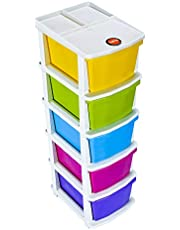 Bathla Stomo 5 – Extra Large Multi-Purpose Modular Drawer Storage System for Home & Office with Trolley Wheels & Anti-Slip Shoes (Multicolour)