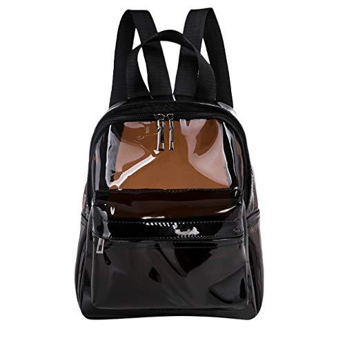 Dorical Damenhandtaschen Frauen Mädchen Transparent Rucksack,Waterproof langlebig strapazierfähig transparent Rucksack mit verstellbarer Gurt, Student Schultasche für Schule, Reisen(Schwarz)
