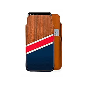 DailyObjects Wooden New England Real Leather Wallet Mobile Case Cover for Xiaomi Mi6