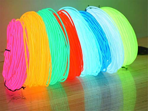 LHKJ Lumineszierende EL Draht Led Neon Christmas Ball DIY Kleidung Kostüm Nachtlicht Lichter Dekorative Kleidung Ball Karneval 5 Mt Zufällig 2 Stücke