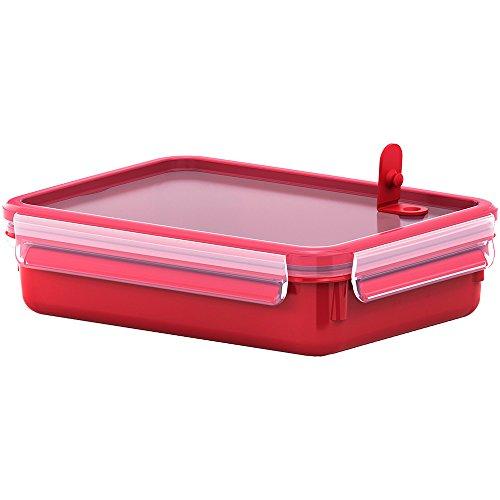 Emsa Mikrowellendose, Lunchbox, 1,2 Liter, Rot/Transparent, Clip & Micro, 517776