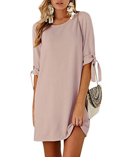 YOINS Sommerkleid Damen Tshirt Kleid Rundhals Kurzarm Minikleid Kleider Langes Shirt Lose Tunika mit Bowknot Ärmeln Aktualisierung-Rosa EU36-38