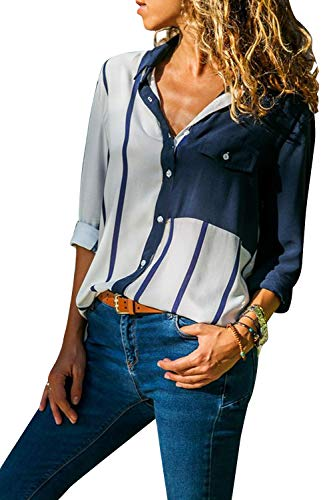 Cindeyar Damen Bluse Gestreift Langarm V-Ausschnitt Elegant Casual Oberteil Top Langarmshirt (Weiß, L) -