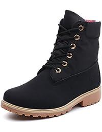 Minetom Mujer Otoño Invierno Zapatos Botines Calentar Botas De Nieve Zapatos Botas de Trabajo Martin Boots Zapatos de Cordones