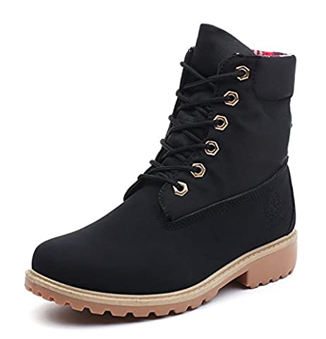 Minetom Femme Hiver Bottes Martin Bottes Chaussures Classiques Bottines À Lacets Talon Plat Lace Up Martin Boots Noir EU 36