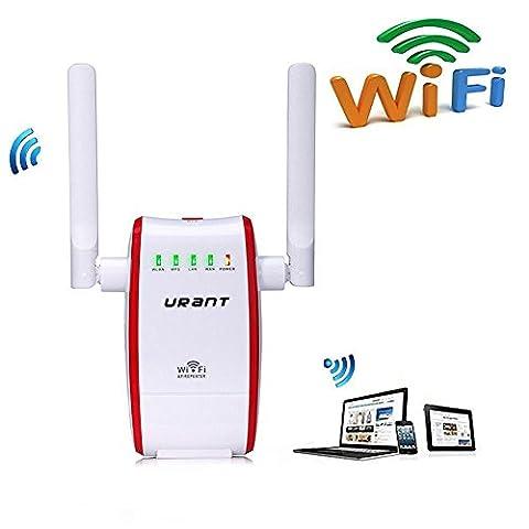 300M WiFi Routeur Répéteur, URANT Extenseur sans fil réseau Adapteur Booster Amplificateur de Wifi Longue Portée Mini Routeur de voyage Point d'accès AP Signal De Couverture Complet RJ45 , Protection