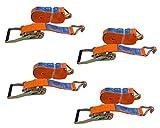 UNITRAILER Set von 4 Spanngurte Zurrgurte mit Ratsche 8M/50mm/5T 2 TLG für Pkw-Anhänger Bundle