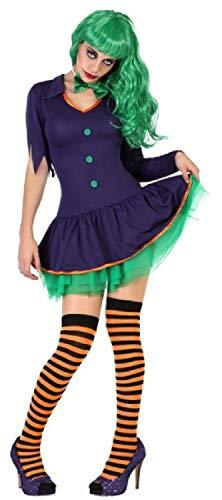 Fancy Me Damen Lustiges Schurken-Kostüm, Scary Evil Clown Jester Halloween TV-Buch Film Kostüm Outfit UK 8-18 (Evil Jester Für Erwachsenen Kostüm)
