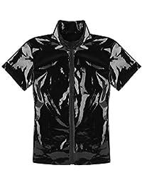 a356aea95a64 iiniim Herren Shirt Wetlook Metallic Kurzarm T-Shirt Männer Tops Muskelshirt  Party Clubwear Schwarz M
