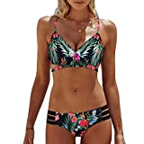 HUIHUI Damen Bikini Set mit Hotpants Push Up BH Strand Bademode (Grün,L)