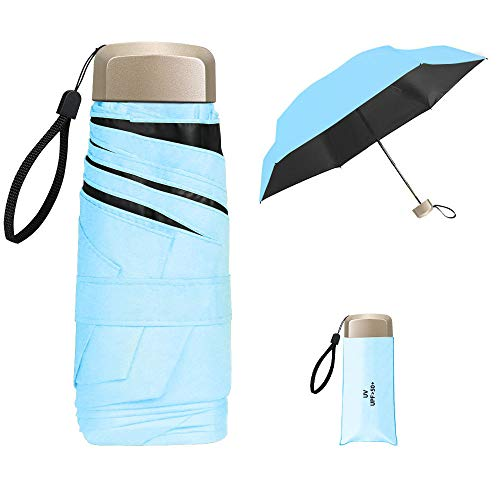 Vicloon Mini Ombrello, Ombrello Tascabile con Manico Dorato & 6 Nervature in Lega di Alluminio, Portatile Compatto Pieghevole Viaggio Ombrello, UPF>50+ Ombrello da Sole/Pioggia - Azzurro
