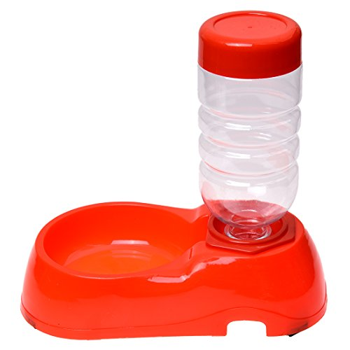 TOOGOO(R) Dispensador de agua para perro gato superior alimentador automatico tazon plato de comida rojo