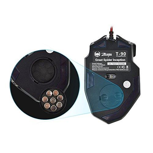 Gaming Maus, ECHTPower Computer Laser Optische Gaming Mouse, 9200DPI PC Gamer Maus mit einstellbarer DPI, 8 Stk. Gewichten, LED Beleuchtung, 8 Tasten, USB kabelgebundene, Groß, Rechtshänder - 5