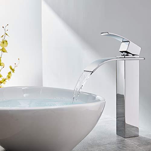 CECIPA Verchromter Wasserhahn wasserfall für Aufsatzwaschbecken,Hohe Badezimmer Wasserfall Armatur für Bad, 20cm Auslaufhöhe, 25cm Gesamthöhe