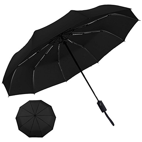 Automatic Umbrella, POOPHUNS Umbrella, Travel Umbrella, 10 Fiberglass Ribs, Auto Open Close, Waterproof Fabric, Ultra Comfort Handle(Black)