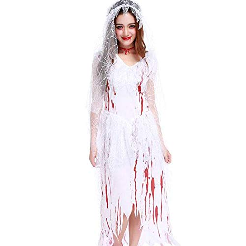 Einfache Zombie Kostüm - QWE Halloween Kostüm Zombie Braut Kostüm Ghost Braut Cosplay Kostüm blutige Brautmode Lady Performance Kleidung