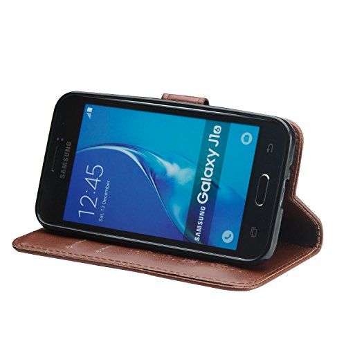 FESELE Samsung Galaxy J1(2016) Coque,Samsung Galaxy J1(2016) Housse,Samsung Galaxy J1(2016) Étui Cuir,Premium Folio Cuir [Éléphant] Embossing Portefeuille avec Cordon Lanyard Retro Housse pour Samsung Marron