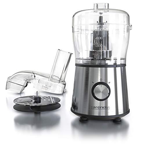 arendo - Mini Robot da Cucina Multifunzione Automatico Compatto - Tritatutto - Affettaverdure - 2 Velocitá - Lama Double-Face muiltifunzione + Lama Tritatutto - Carafa 500ml in Vetro