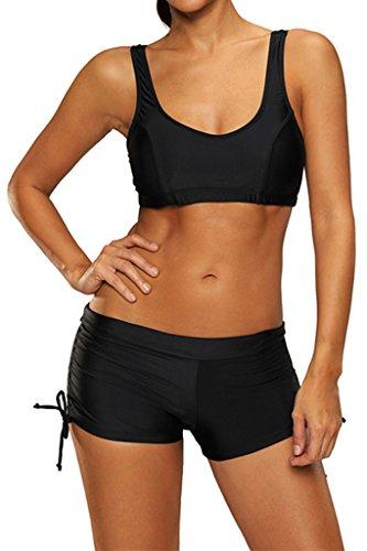 Damen Sport Bikini Set Push Up Badeanzug mit Panty Sexy Sportlich Bademode,schwarz,M (Boy Short Bademode Für Frauen)