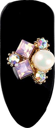 Superposition dans le mehr, contenu : 3 pièces, # 75 Ornament or avec strass + perle 10 x 9 mm