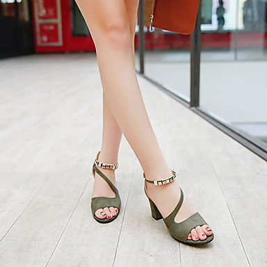 FSCHOOLY Scarpe Donna Molla Di Velluto Gladiator Tacchi Scarpe Tacco Alto Peep Toe Lacci Casual Per Luce Verde Rosa Grigio Nero Grigio