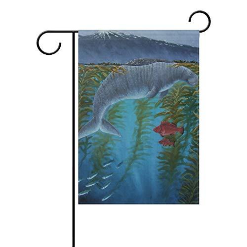 DEZIRO Cool Sea Kuh mit roten Fischen, Gartenflagge, doppelseitig, Polyester, 1, 12x18(in)