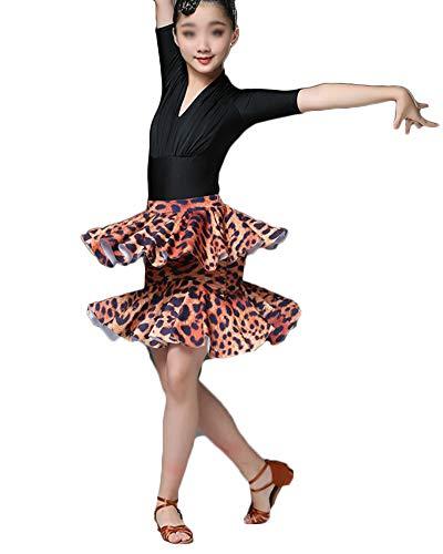Kostüm Ballerina Leopard Kind - Mädchen Dance Performance Latein Tanz Kleid Rock Latin Rumba Salsa Tango Kostüme Leopard 2XL