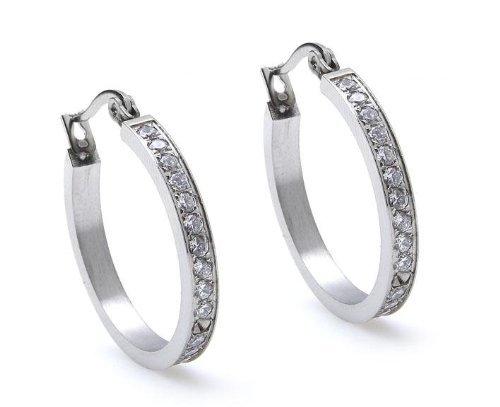 Silvity Damen Ohrring Creolen aus purem Edelstahl in Silber mit eingefasstem Diamant-Strass Creolen Edelstahl Ohrring 2,5x2,5cm 825203-20