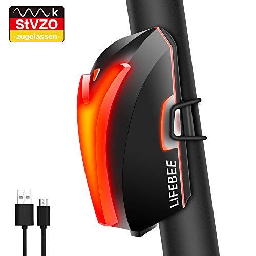 LIFEBEE Fahrrad Rücklicht LED Fahrradlicht, StVZO Zugelassen USB Wiederaufladbare Super Hell MTB Fahrradlampe mit USB Kabel, IPX4 Wasserdicht für Radfahren, Wandern, Laufen, Camping