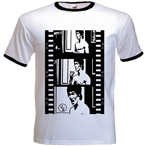 urban shaolin Men's rage of the dragon Inspired T Shirt, White With Black Trim