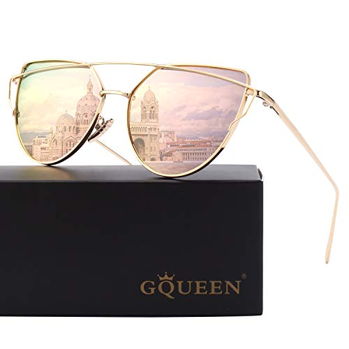 GQUEEN Mode Polarisierte übergroße Katzenaugen CatEye Sonnenbrille Damen Frau Gespiegelte Verspiegelt Linse Metallrahmen Cat Eye Sunglasses MT3…
