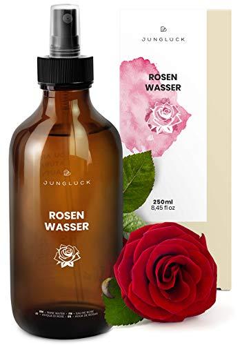Junglück veganes Rosenwasser in Braunglas - Reinigung und Pflege für Gesicht & Haut durch das...
