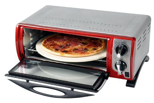 Efbe-Schott SC MBO 1000 R Pizza and Multi-Oven with High Quality Pizza Stone included 30 cm Diameter, 1400 W, Red Metallic