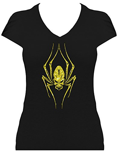 Premium Fun Shirt grosse Spinne Spiderskull Damen Gothic Shirt mit Glitzeraufdruck Schwarz/Gold