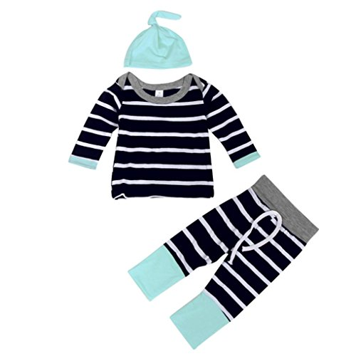 Bekleidung Set Jungen Xinan Outfit Stripe Langarm T-shirt Tops + Long Pants + Hut (70, Marine) (Elfenbein Hut Set)