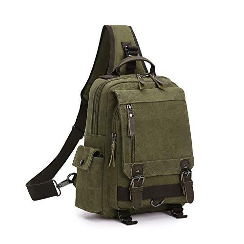 Wind Took Canvas Sling Rucksack Crossbody Bag Brusttasche Outdoor Daypack Vintage Schultertasche Unisex Umhängetasche für Herren Damen (Armee grün) - Schnalle Crossbody-tasche