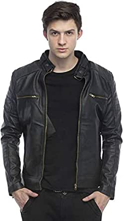 Generic Retail Men's Faux Leather Biker Jacket (Black, XS)
