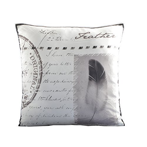 Deko Kissen Bezüge 45x45cm Kissenbezug Dekokissen Shabby Chic Landhaus (Feather) (Kissenbezug Shabby Shabby Chic)