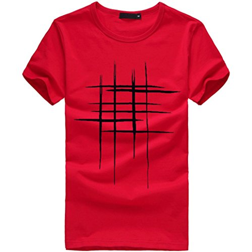 Tefamore Hommes Impression Tees Chemise T-Shirt à Manches Courtes Coton Décontracté Chemisier (XL, Rouge)
